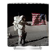 Apollo 17 Astronaut Salutes The United Shower Curtain by Stocktrek Images