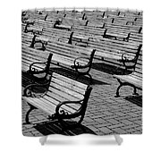 Benches Shower Curtain by Perry Webster