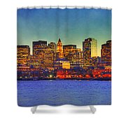 Boston Skyline Sunset Shower Curtain by Joann Vitali
