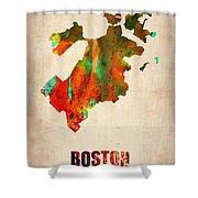 Boston Watercolor Map  Shower Curtain by Naxart Studio