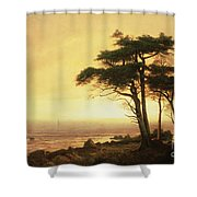 California Coast Shower Curtain by Albert Bierstadt