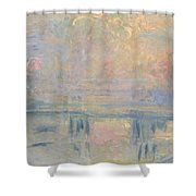 Charing Cross Bridge Shower Curtain by Claude Monet