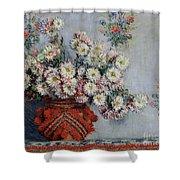 Chrysanthemums Shower Curtain by Claude Monet