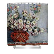 Chrysanthemums Shower Curtain by Claude Monet