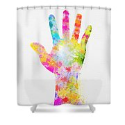 Colorful Painting Of Hand Shower Curtain by Setsiri Silapasuwanchai