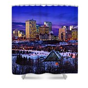 Edmonton Winter Skyline Shower Curtain by Corey Hochachka