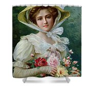 Elegant Lady With A Bouquet Of Roses Shower Curtain by Emile Vernon