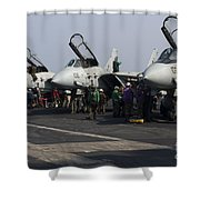 F-14d Tomcats On The Flight Deck Of Uss Shower Curtain by Gert Kromhout