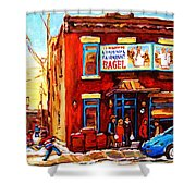 Fairmount Bagel In Winter Shower Curtain by Carole Spandau