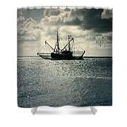 fishing boat Shower Curtain by Joana Kruse