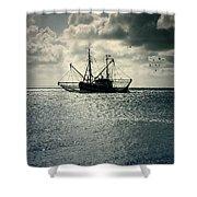 Fishing Boat Shower Curtain by Joana Kruse