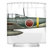 Illustration Of A Mitsubishi A6m2 Zero Shower Curtain by Inkworm