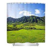Kaaawa Valley And Kualoa Ranch Shower Curtain by Dana Edmunds - Printscapes