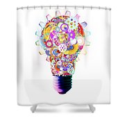 light bulb design by cogs and gears  Shower Curtain by Setsiri Silapasuwanchai