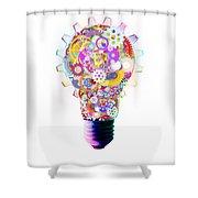 Light Bulb Design By Cogs And Gears  Shower Curtain by Setsiri Silapasuwanchai