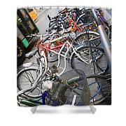 Many Bikes Shower Curtain by Marilyn Hunt