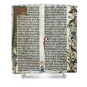 Page Of The Gutenberg Bible, 1455 Shower Curtain by Photo Researchers