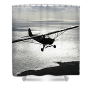 Piper L-4 Cub In Us Army D-day Colors Shower Curtain by Daniel Karlsson