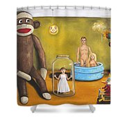 Playroom Nightmare 2 Shower Curtain by Leah Saulnier The Painting Maniac
