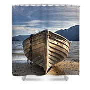 Rowing boat on Lake Maggiore Shower Curtain by Joana Kruse