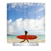 Running with Surfboard Shower Curtain by Dana Edmunds - Printscapes