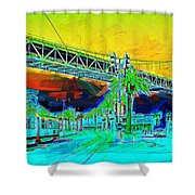 San Francisco Embarcadero And The Bay Bridge Shower Curtain by Wingsdomain Art and Photography