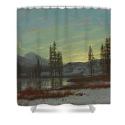 Snow In The Rockies Shower Curtain by Albert Bierstadt