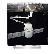 The Spacex Dragon Cargo Craft Prior Shower Curtain by Stocktrek Images