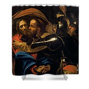 The Taking Of Christ Shower Curtain by Michelangelo Caravaggio