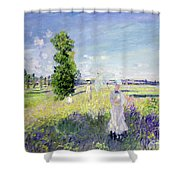 The Walk Shower Curtain by Claude Monet