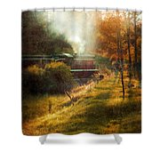 Vintage Diesel Locomotive Shower Curtain by Jill Battaglia