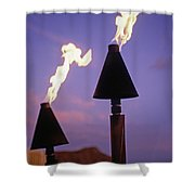 Waikiki, Tiki Torches Shower Curtain by Carl Shaneff - Printscapes
