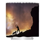 Woman Stretching On A Mountain Shower Curtain by Dana Edmunds - Printscapes