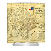 1849 Texas Map Shower Curtain by Bill Cannon