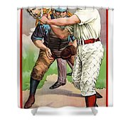 1895 IN THE BATTERS BOX Shower Curtain by Daniel Hagerman