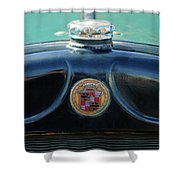 1925 Cadillac Hood Ornament And Emblem Shower Curtain by Jill Reger