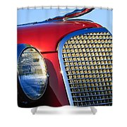 1937 Cadillac V8 Hood Ornament 2 Shower Curtain by Jill Reger