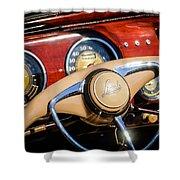 1941 Lincoln Continental Cabriolet V12 Steering Wheel Shower Curtain by Jill Reger