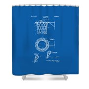 1951 Basketball Net Patent Artwork - Blueprint Shower Curtain by Nikki Marie Smith