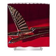 1954 Ford Cresline Sunliner Hood Ornament Shower Curtain by Jill Reger