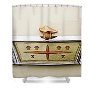 1957 Desoto Adventurer Emblem Shower Curtain by Jill Reger