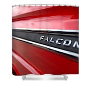 1965 Ford Falcon Name Plate Shower Curtain by Brian Harig