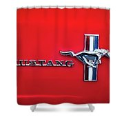 1965 Ford Mustang Emblem 4 Shower Curtain by Jill Reger