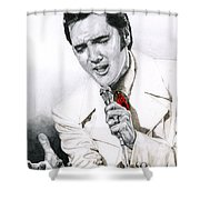1968 White If I Can Dream Suit Shower Curtain by Rob De Vries