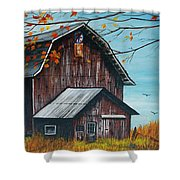 1980 Barn Shower Curtain by Linda Simon