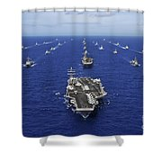 Aircraft Carrier Uss Ronald Reagan Shower Curtain by Stocktrek Images