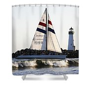 2 Boats Approach Shower Curtain by Marilyn Hunt