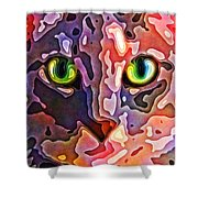 Feline Face Abstract Shower Curtain by David G Paul