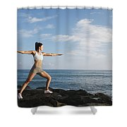 Female doing Yoga Shower Curtain by Brandon Tabiolo - Printscapes