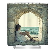 girl at the sea Shower Curtain by Joana Kruse